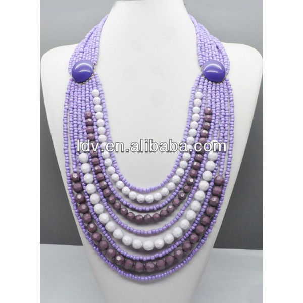 Fashion Creative Beads Necklace Mix Color Layers Purle Beads Necklace... via Polyvore