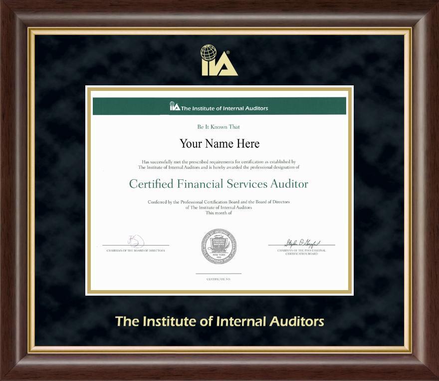 The Institute Of Internal Auditors Certificate Frame Mostafagigli