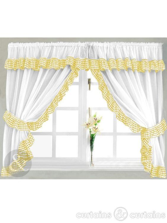 Black And Yellow Kitchen Curtains Gingham Check