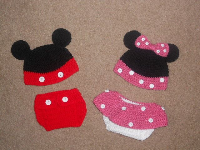 mickey mouse crochet hat pattern   Twin Mickey & Minnie Mouse ...