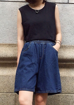 Denim Culottes Pants