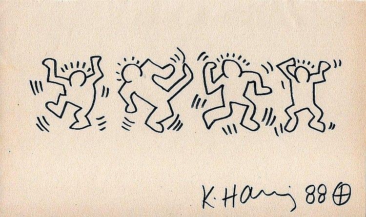 KEITH HARING DRAWING: DANCING MEN | Dancing men, Keith haring ...