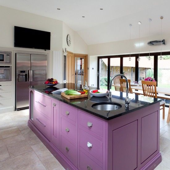 Plum painted kitchen island