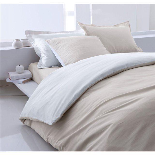 housse de couette coton bicolore toile. Black Bedroom Furniture Sets. Home Design Ideas