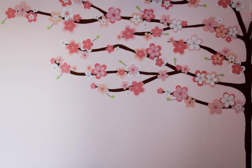aplicação de feltro na parede, felt, decor, sakura...