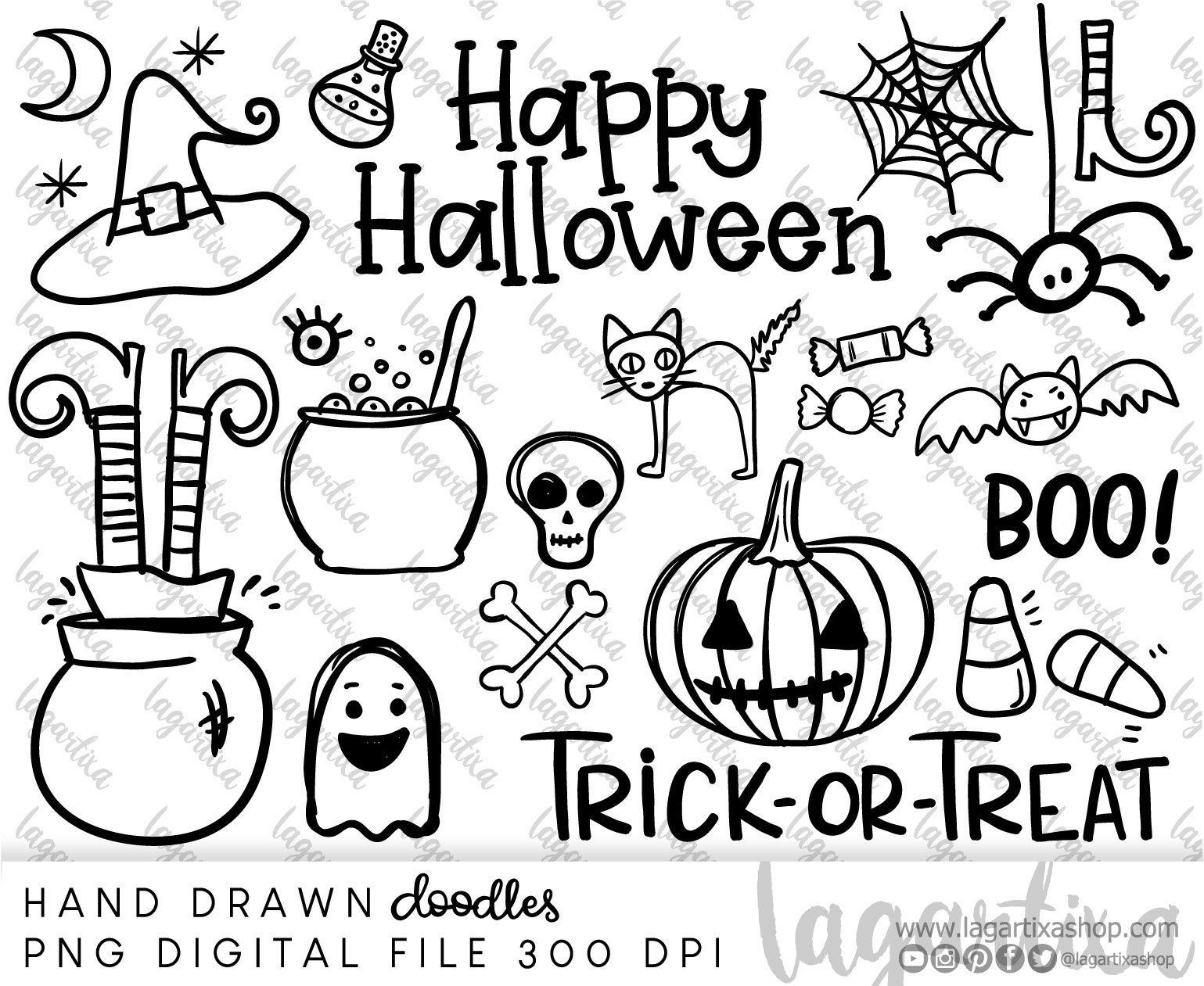 Happy Halloween Hand Drawn Doodles Clipart Png Svg Bat Witch Etsy How To Draw Hands Halloween Images Happy Halloween