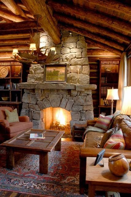Log cabin fireplace My home Pinterest Cabin fireplace, Log