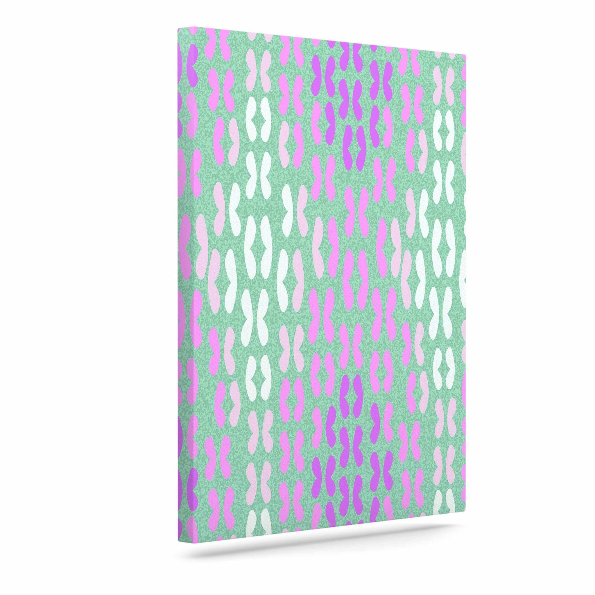 "Dan Sekanwagi ""Butterfly Elements II"" Purple Aqua Outdoor Canvas Art"