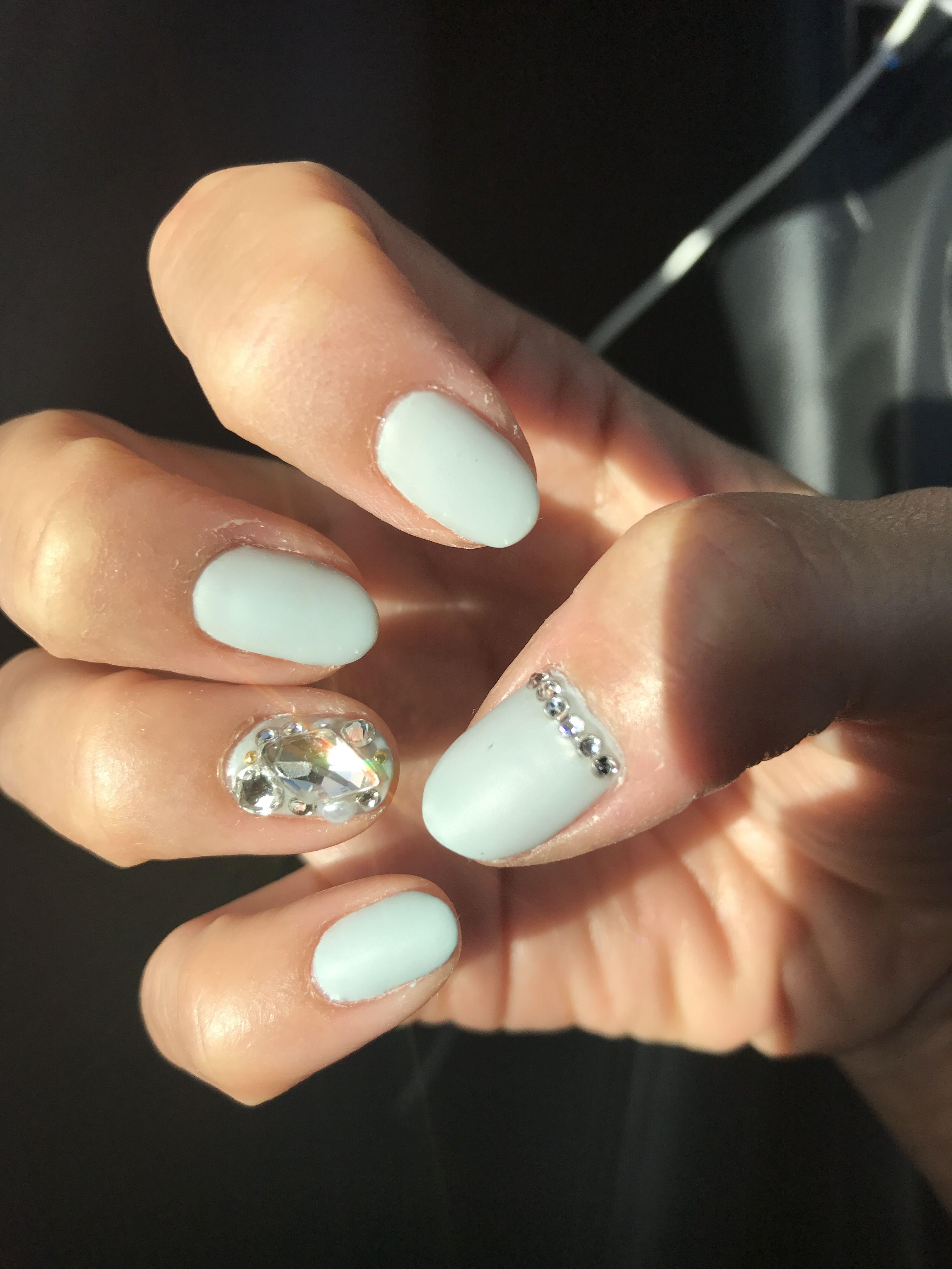 Matte Sage Korean Hard Gel Nail Design With Swarovski Rhinestone Crystals Pearls And Small Gold Metal Embellishments Hard Gel Nails Gel Nails Nails