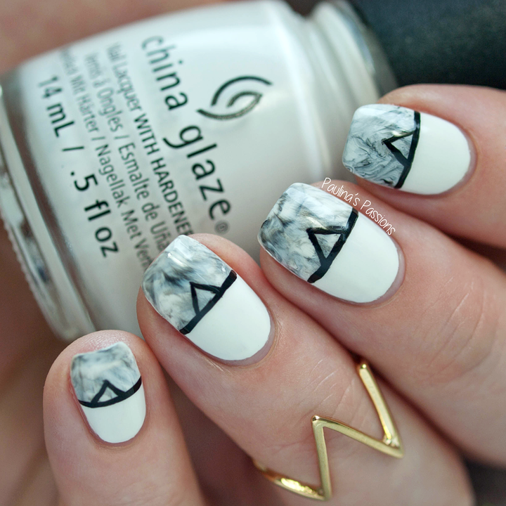 Paint All The Nails - Monochrome Marble Stone Nails | Nails ...