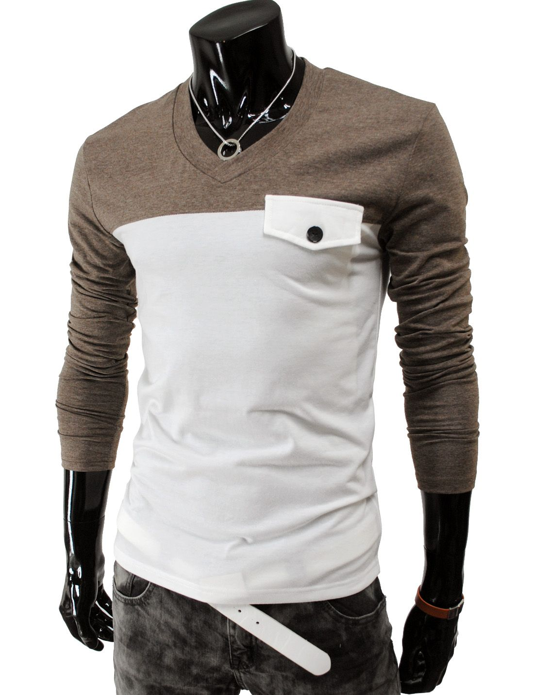 Slim fit 2 tone long sleeve t-shirt (DK19-brown) (Thelees Shop)