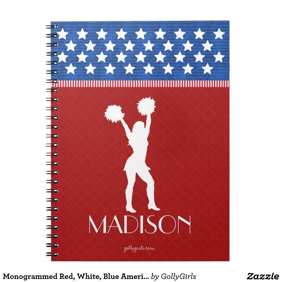 Monogrammed Red, White, Blue American Cheerleader Spiral