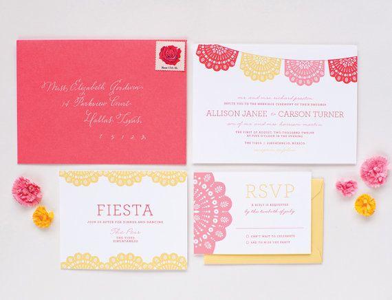 so cute bodega wedding invitation sample mexican flags papel