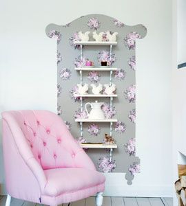 What a lovely idea!!   wallpaper cabinet ... done in wallpaper but can be done in fabric and mounted with liquid starch brushed or smeared with sponge very heavily onto the front of the fabric and then it just peels off when you want to move or remove it.
