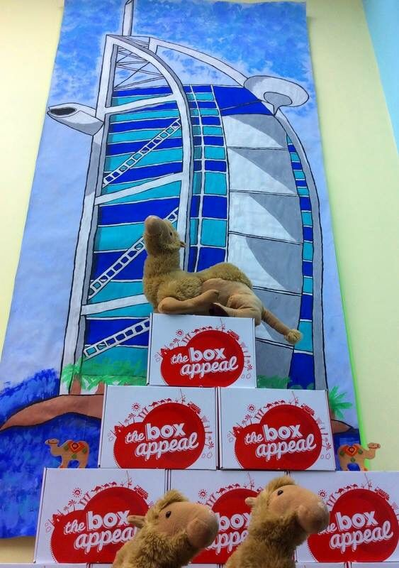 Kids island nursery and Cocoon Nursery playroom display. Arts/crafts. Burj al Arab with a camel, Dubai.