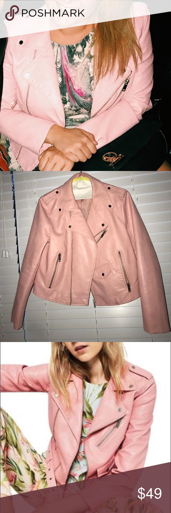 Zara Blush Pink Faux Leather Motorcycle Jacket SzL One of