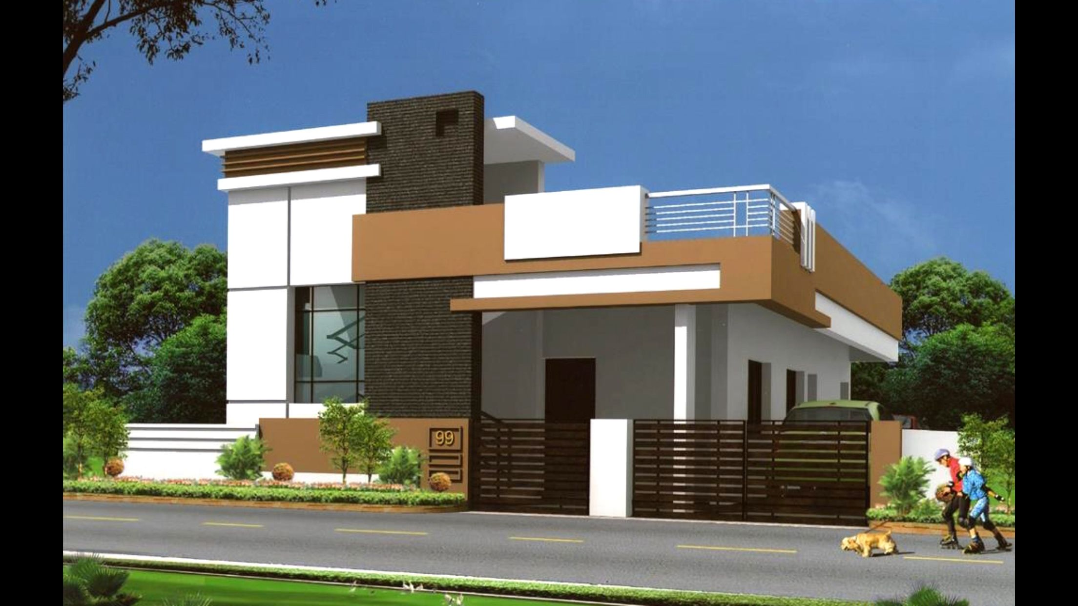 Floor Front Elevation : Ground floor house architectural designs