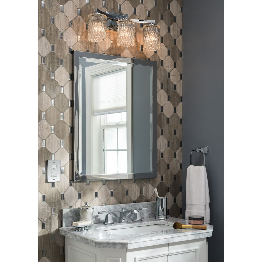 Shop allen + roth 24-in x 30-in Chrome Rectangular Framed Bathroom Mirror  at Lowes.com