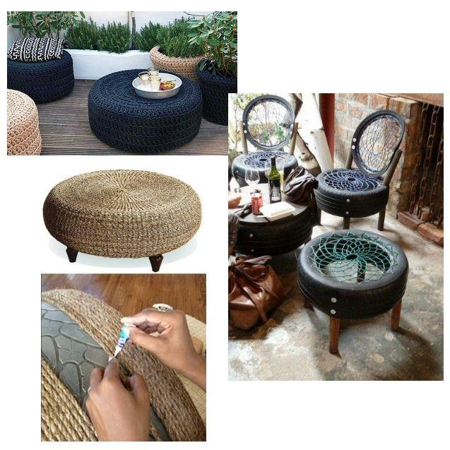 recycler un pneu p neu pouf pneu chaise pneu avec corde decoration et diy gothique witchy. Black Bedroom Furniture Sets. Home Design Ideas