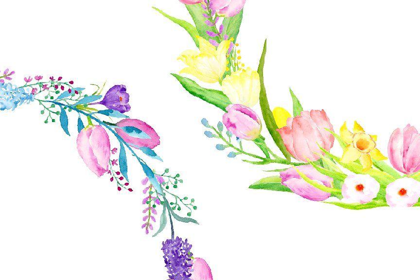 Watercolor Spring Flower Wreath Springwatercolorflower
