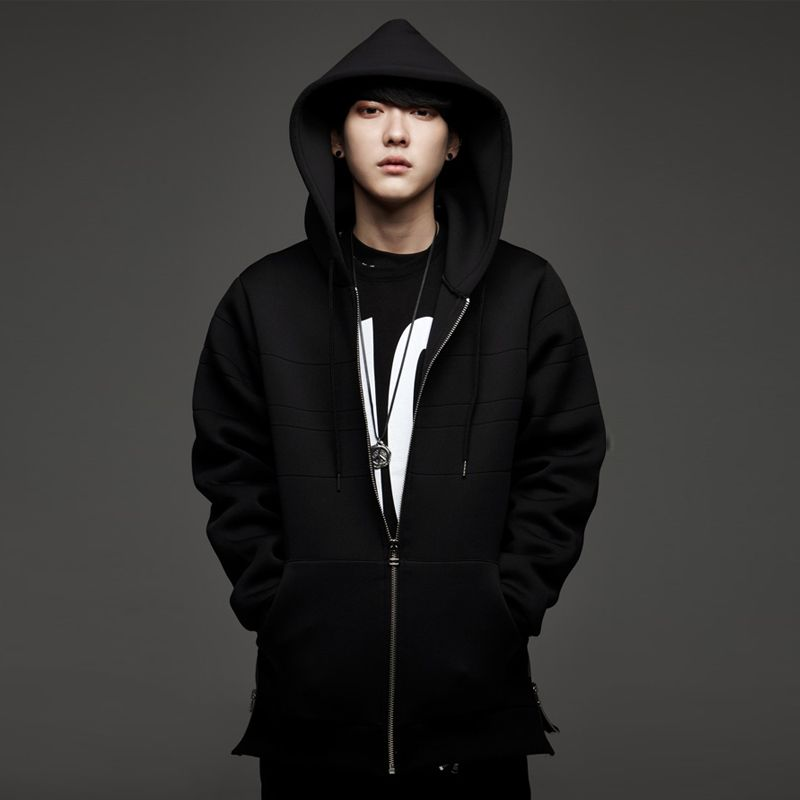 Neoprene-unique-oversized-hoodie-men-side-split-extended-long-zip ...