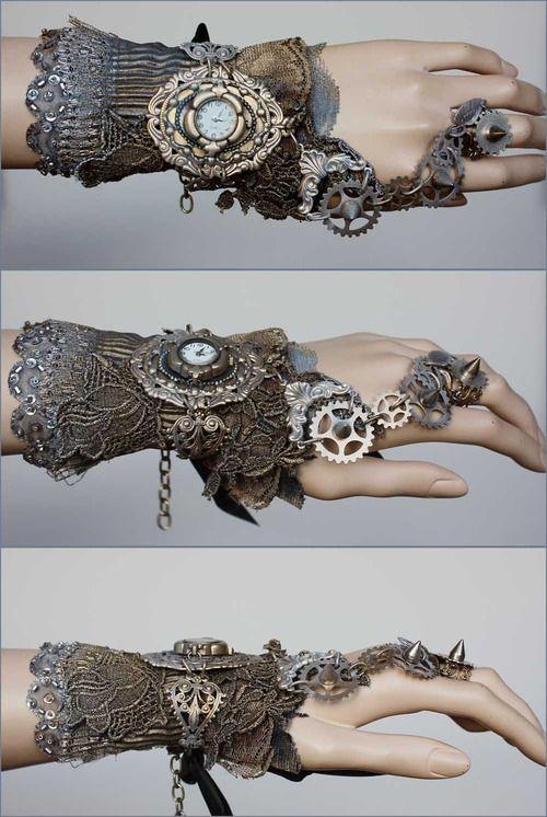 #steampunk #accessories #bracelet #hand #wrist #clock #lace #pretty