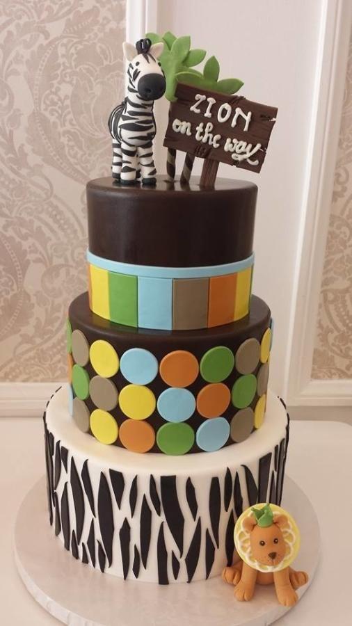 Zebra and Lion Birthday Cake | Zebra birthday cakes