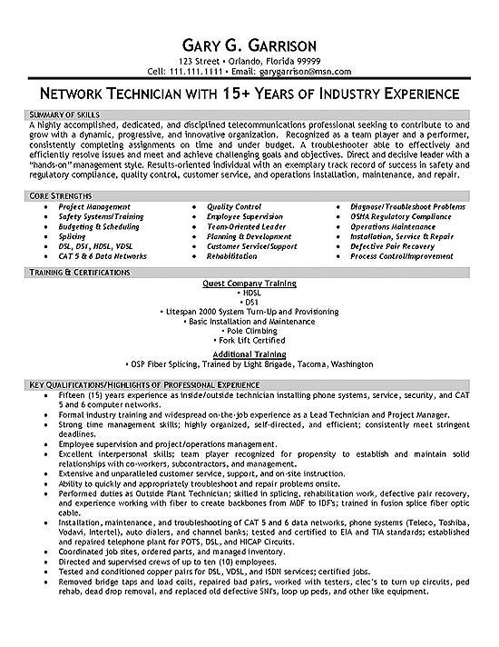 Telecom Technician Resume Example Sample resume and Resume examples - Telecommunication Resume Sample