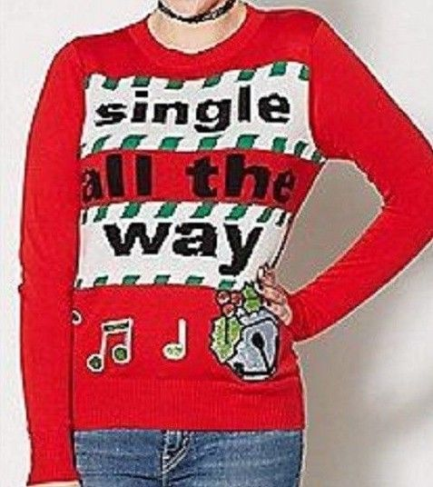 Details About Ugly Christmas Sweater Medium Single All The Way Retro