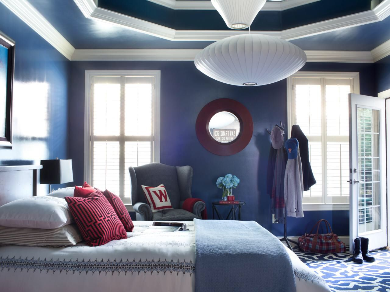Bold dark blue can be overwhelming and bring the walls in