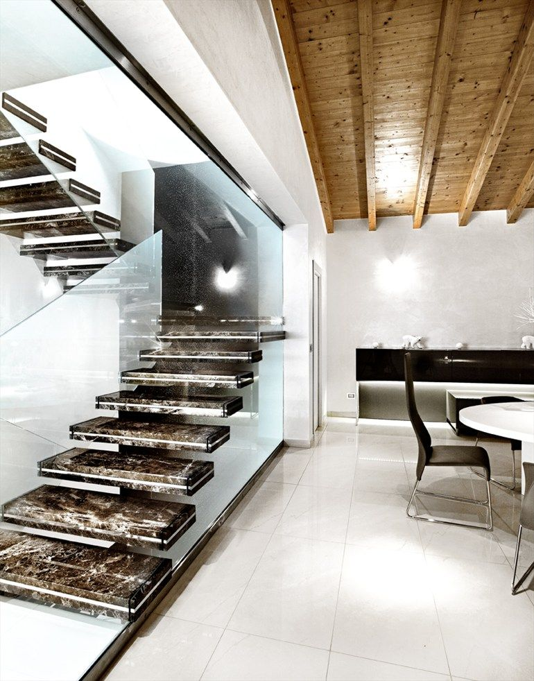 Marble Cantilevered staircase LUXO by SANDRINI SCALE # ...