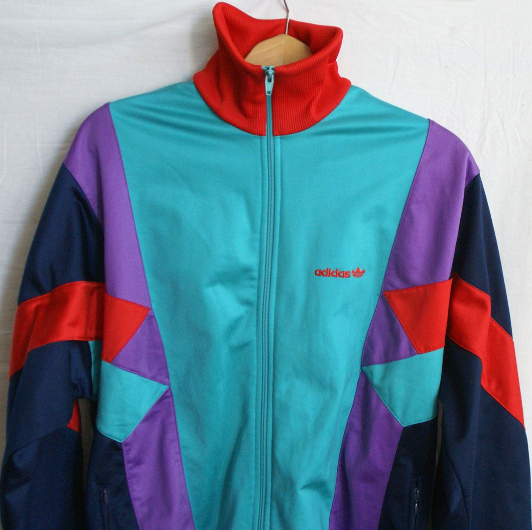 100 Genuine Item It Features The Old Adidas Label From 90 39 S Full Zip X2f 2 Zipped Pockets X2f Multi C Vintage Jacket Vintage Adidas Tracksuit Tops