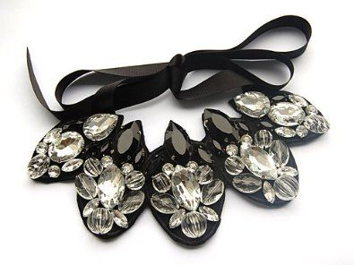 Amazon.com: Black Clear Facet Crystal Resin Bead Fashion Costume Flower Bib Ribbon Necklace: Jewelry