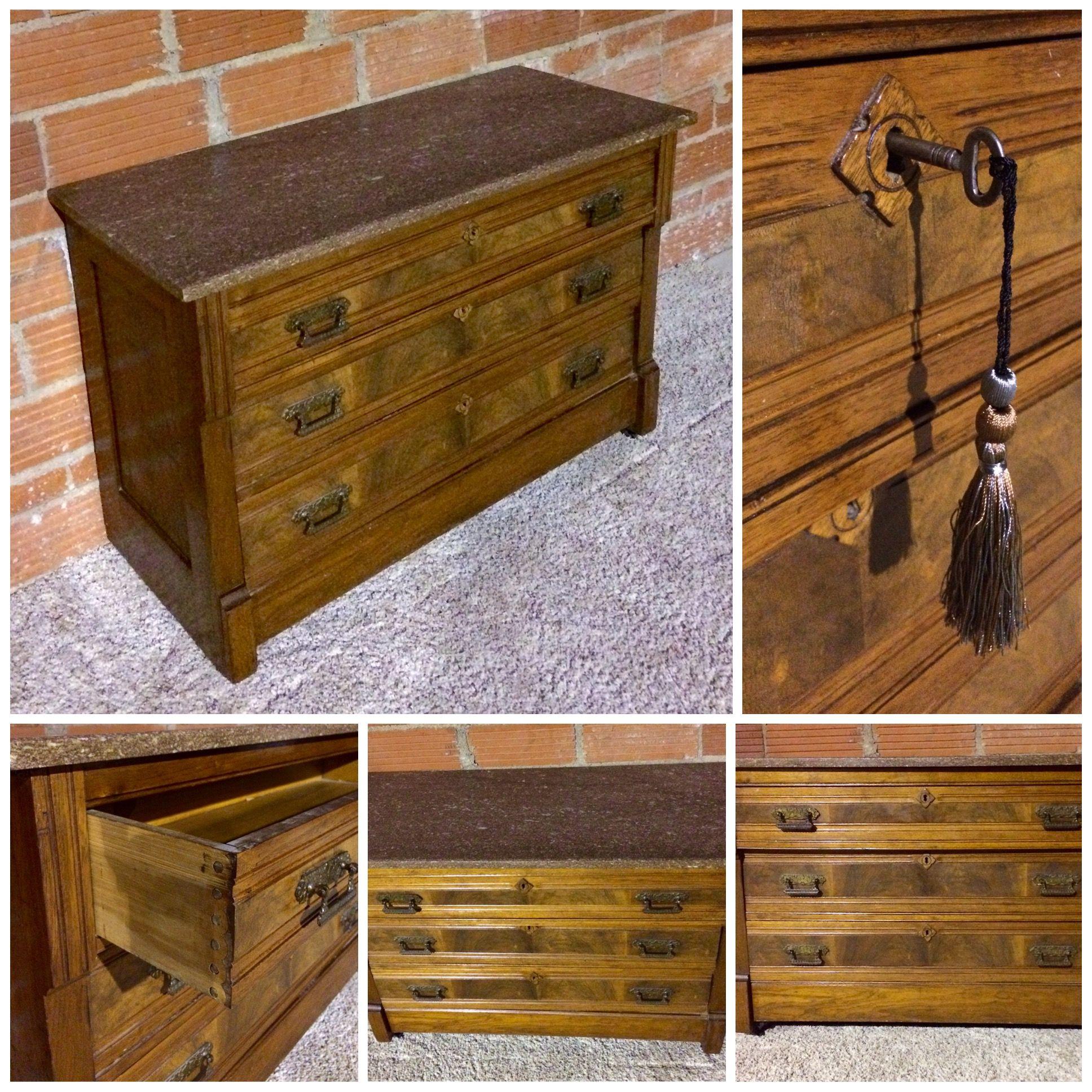 Antique marble top 3 drawer locking chest w key storage