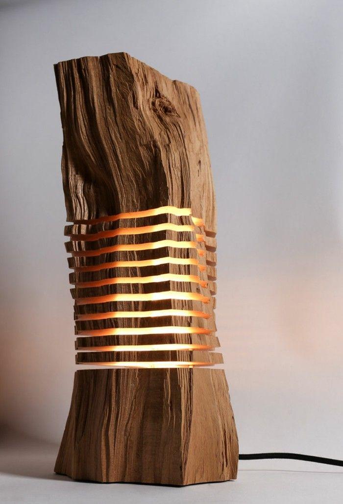 designer lampen leuchten design naturholz brennholz Einrichten - designer mobel verbranntem holz