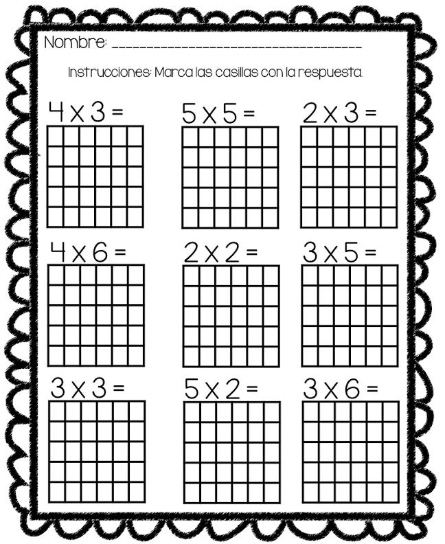 Recurso para multiplicar rellenado puntitos mediante tablas con ...