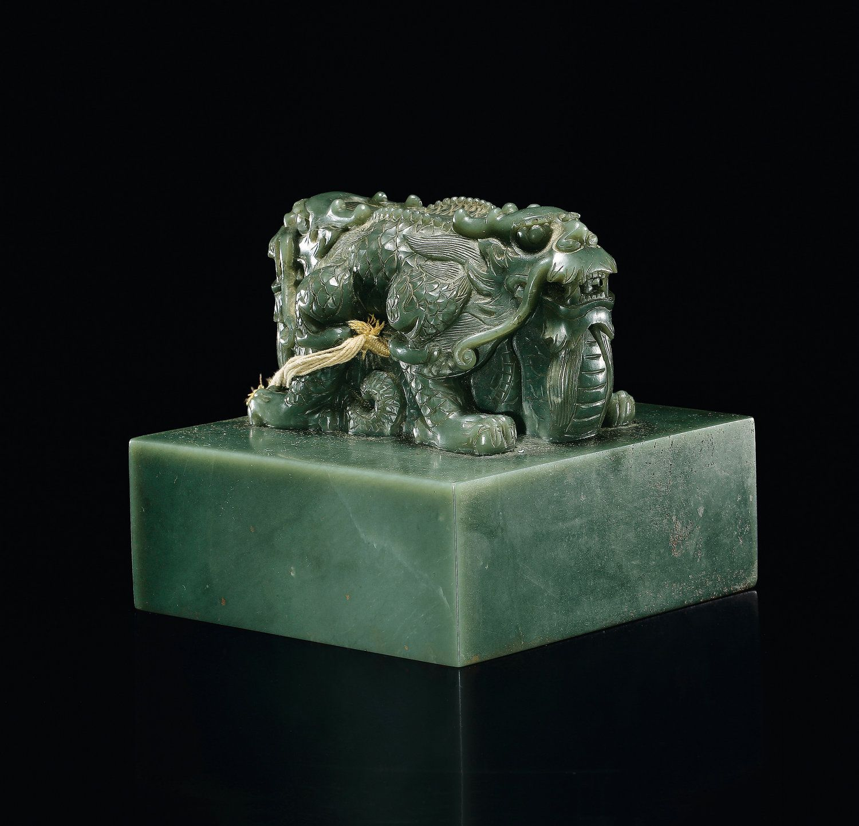 A fine imperial khotan jade dragon seal best chinese a fine imperial khotan jade dragon seal buycottarizona