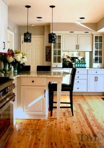 Beautiful White Kitchen With Knotty Pine Floors