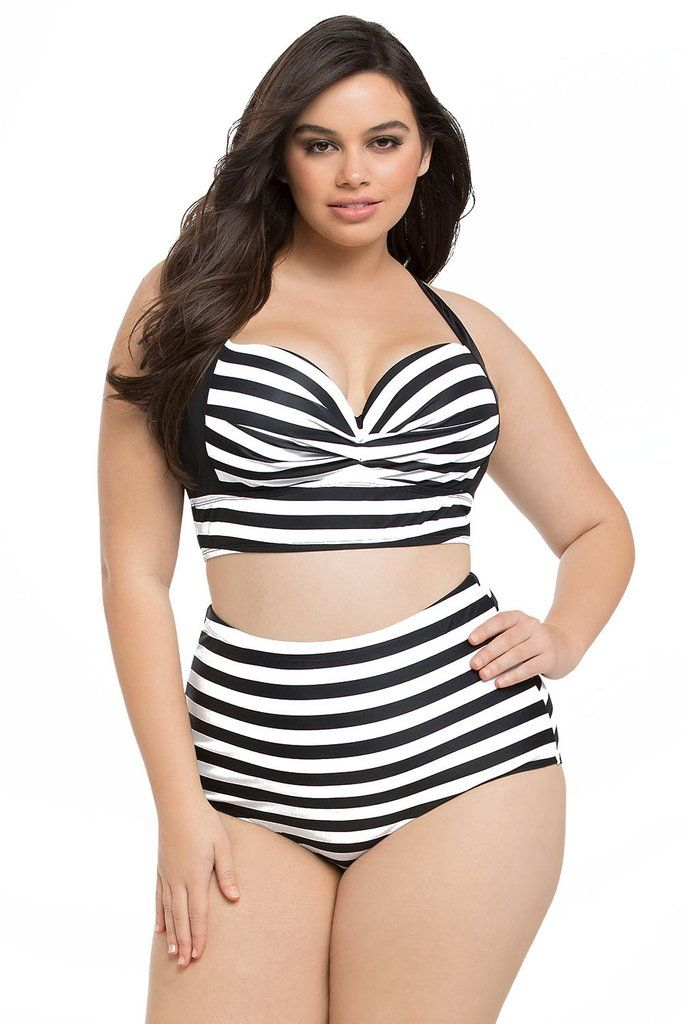8ddd5e02458f3 White Black Striped Curvy High Waist Bikini Swimsuit | Plus Size ...