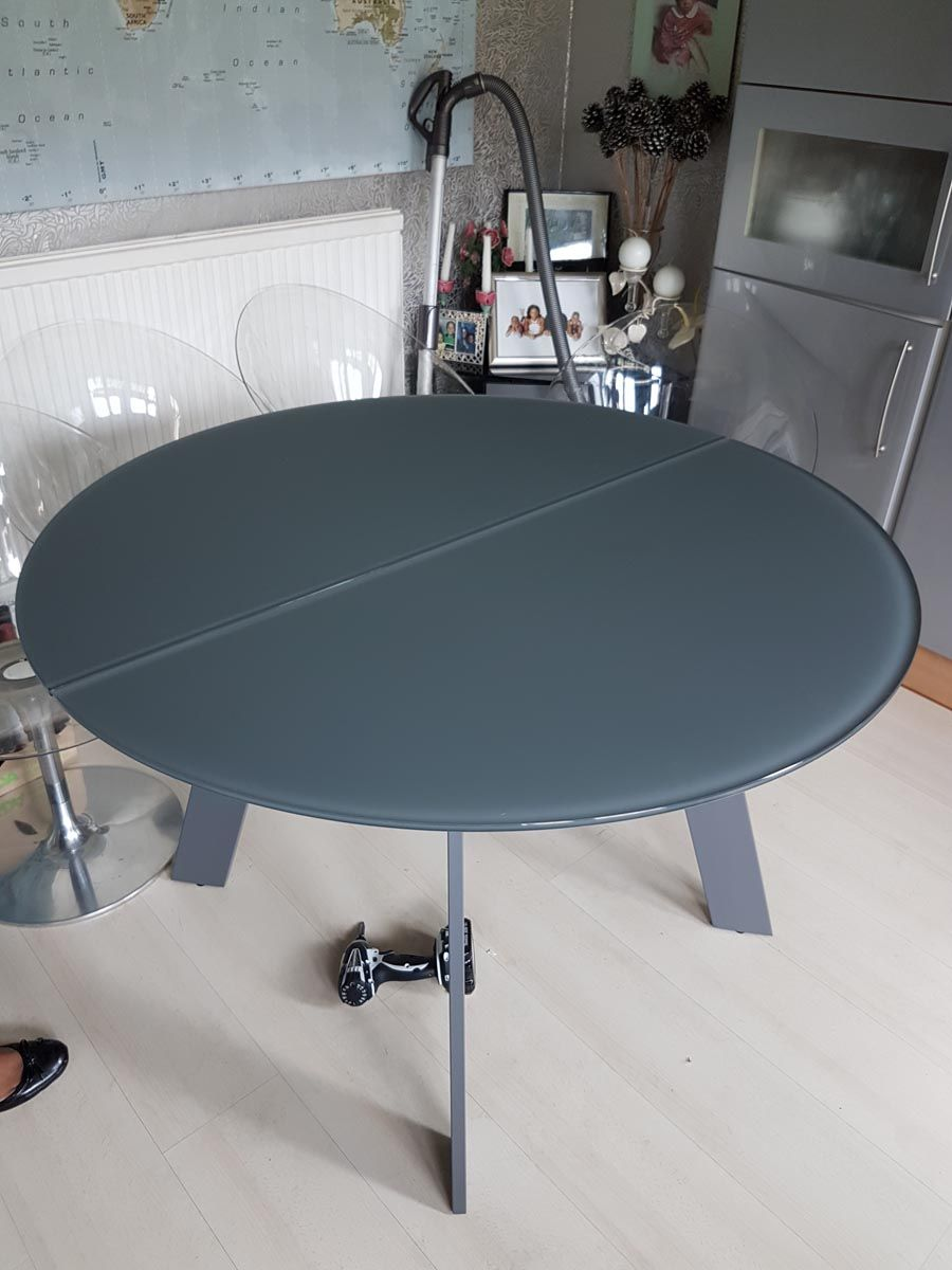 Moon Round Glass Top Extendable Dining Table Table Top In Matt