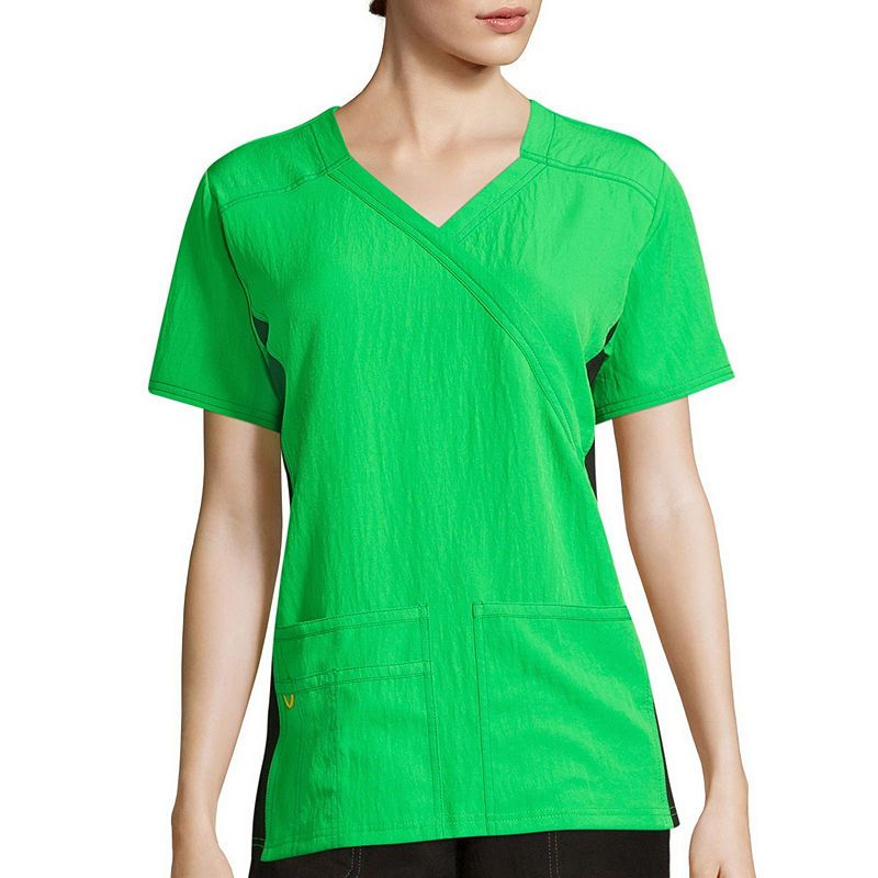 a3727169073 WonderWink Womens Short-Sleeve Mock-Wrap Knit Panel Top | Products ...