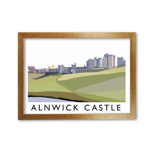 Photo of Gerahmter Grafikdruck Alnwick Castle von Richard O'Neill Corrigan Studio Rahmenart: Honigfarbene Eiche, Größe: 21 cm H x 29,7 cm B
