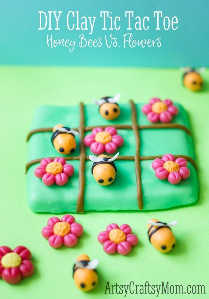 Super Easy Clay Bee Tic Tac Toe craft for kids
