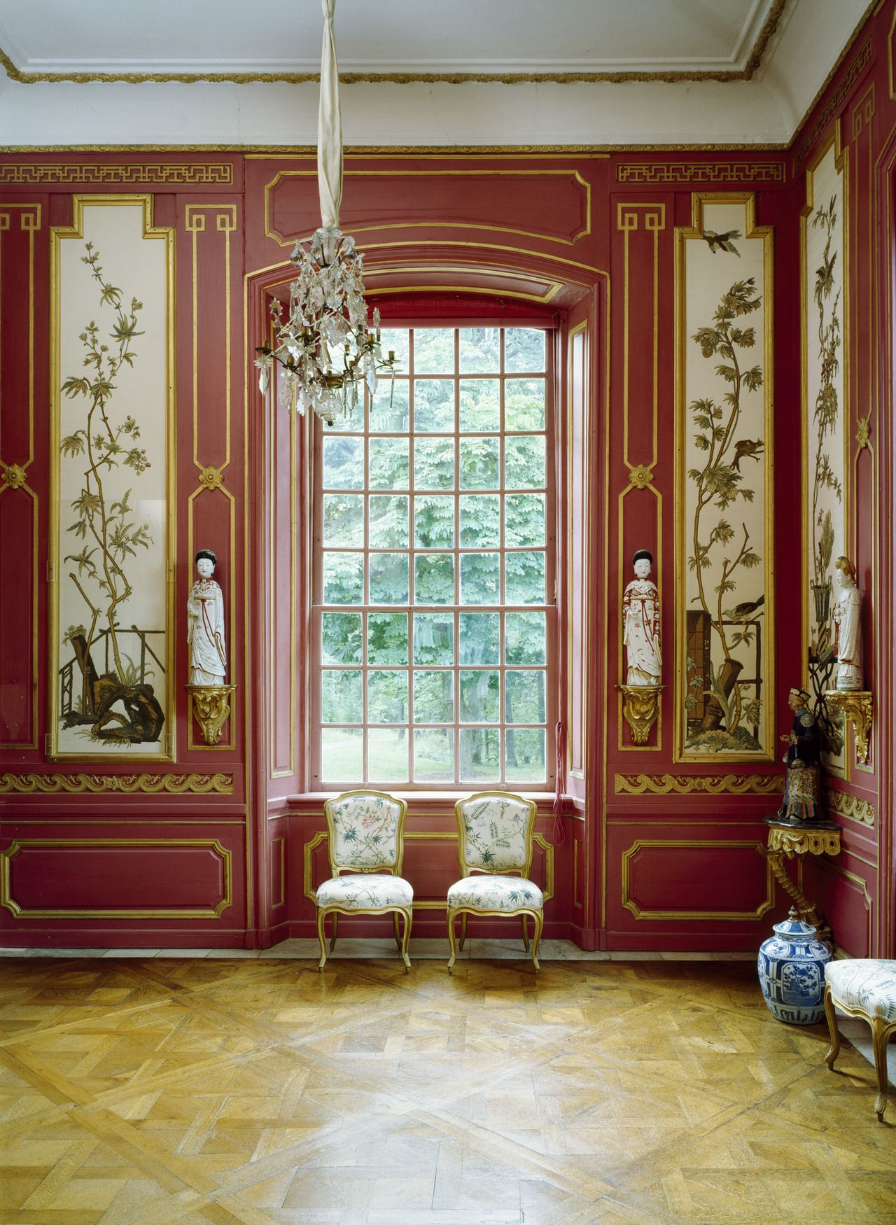 The red room at the chinese pavilion of the drottningholm palace sweden the drottningholm palace is the private residence of the swedish royal family
