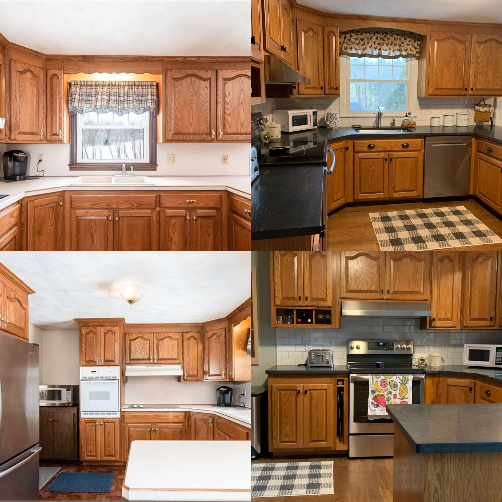 1990 Golden Oak Cabinets Updated Without Painting Scrolled Trim Over Thesink Changed To An Arch Brass Hardware C In 2020 Update Cabinets Oak Cabinets Kitchen Remodel