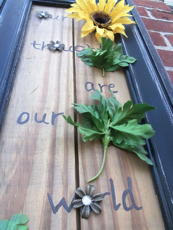 Inspirational wall art with sunflower on reclaimed by ItCouldBeNew, $30.00