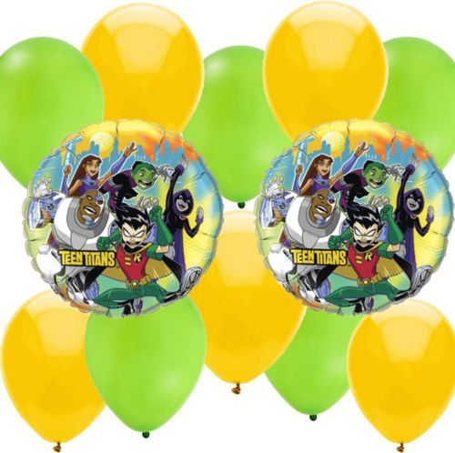 dd065dab2b23 12 PC Teen Titans Go Balloons Party Kit 2 Mylar 5 Green Latex 5 Yellow  Latex
