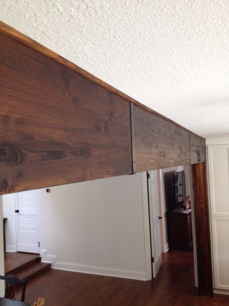 Covered A Steel Beam With Pine And Metal Straps At The Seams Wood Beam Ceiling Metal Beam Steel Beams