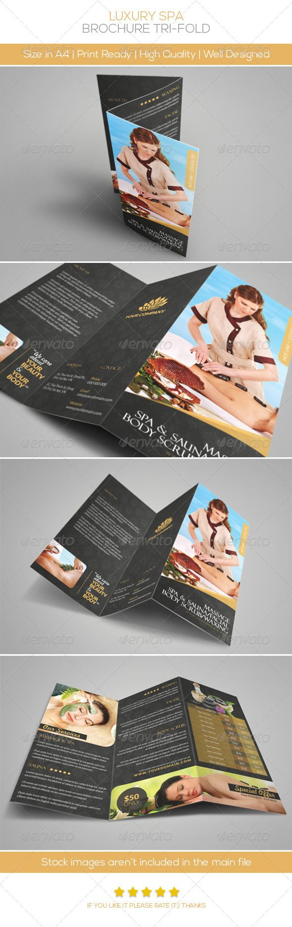 Luxury Spa Brochure Tri-fold - PSD Template • Only available here ...