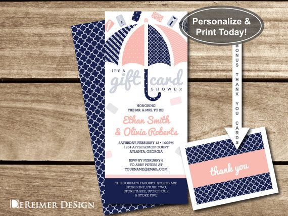 Gift Card Shower Invitation Wedding Shower Bridal Shower Couples Umbrella Blue Navy Wedding Shower Invitations Wedding Gift Cards Wedding Card Wordings